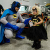 Lily Hart, 3, of Ashby, dresses as Bat Girl and meets Batman Michael Conlon during the Plastic City Comic Con held at the Wallace Civic Center in Fitchburg on Saturday, July 29, 2017. SENTINEL & ENTERPRISE / Ashley Green
