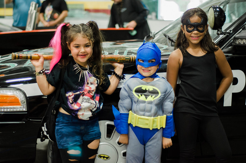 Viviana Civitarese, 5, Antonio Rodriguez Jr. 4, Giana Curley, 8, during the Plastic City Comic Con held at the Wallace Civic Center in Fitchburg on Saturday, July 29, 2017. SENTINEL & ENTERPRISE / Ashley Green