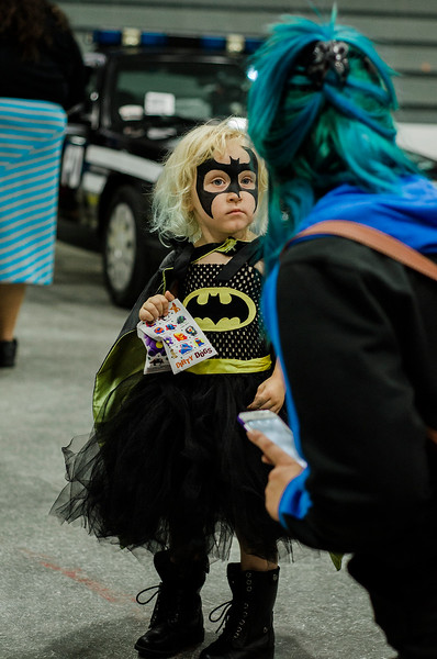 Lily Hart, 3, of Ashby, dresses as Bat Girl during the Plastic City Comic Con held at the Wallace Civic Center in Fitchburg on Saturday, July 29, 2017. SENTINEL & ENTERPRISE / Ashley Green