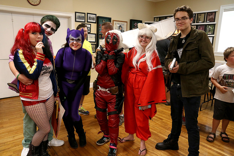 Some of the Comic Con fans dressed up in their favorite outfits to attend the Plastic City Comic Con on Saturday in Leominster. From left is leominster residents Cassidy Harty dressed as Harley Quinn, Dane Walker dressed as the Joker, Toni Johns dressed as Catwoman, Brittany Wells dressed as Deadpool, Allison Poultney dressed as Inuyasha and Charlie Kibbe dressed as Dean Wincester from Supernatural the TV show.  SENTINEL & ENTERPRISE/JOHN LOVE
