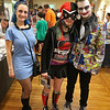 Some of the Comic Con fans dressed up in their favorite outfits to attend the Plastic City Comic Con on Saturday in Leominster. From left is AnneMarie Donahue of Westminster was a Currullean from Star Trek, Skylee Vita of Ayer was dressed a Harley Quinn and Frangucci of Concord was the Joker.  SENTINEL & ENTERPRISE/JOHN LOVE