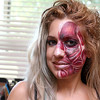 Make up artist Julie Le Shane from Waltham was doing some face painting at the Plastic City Comic Con on Saturday in Leominster at the Veterans Memorial Center on West Street. She had painted her own face first to simulate the muscles of the face. SENTINEL & ENTERPRISE/JOHN LOVE