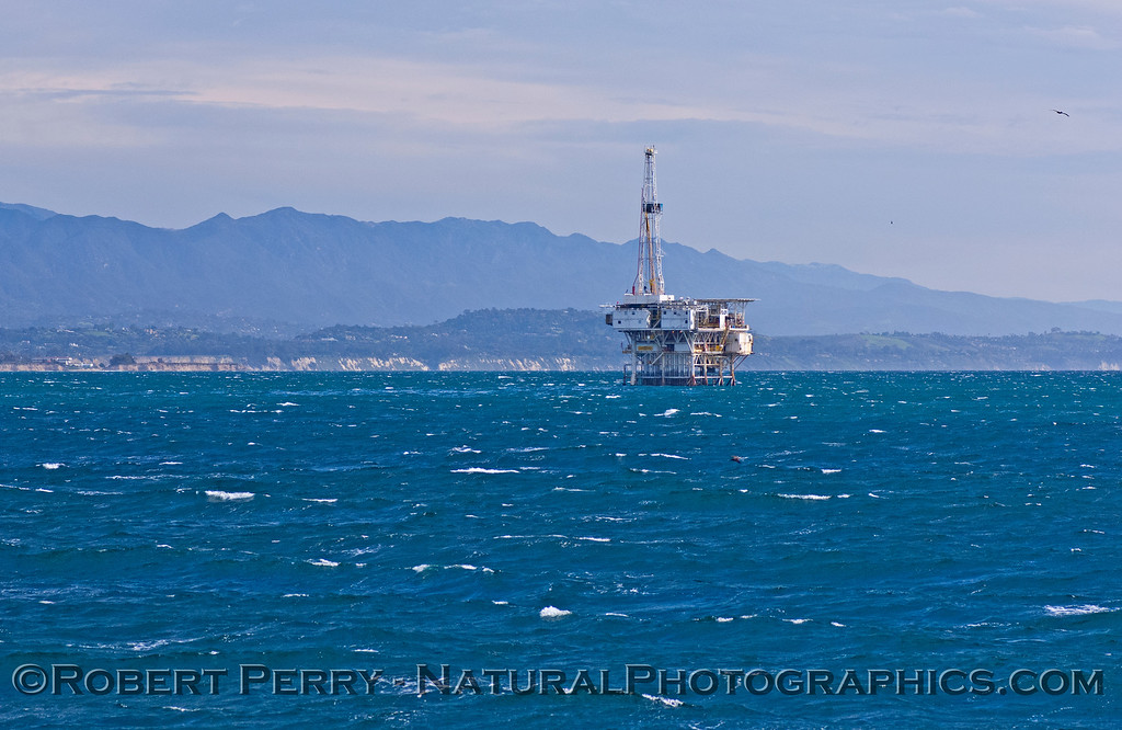 oil platform Holly on windy seas 2008 02-23 Sta Barbara -- 1014