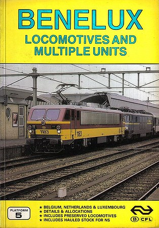 1985 Benelux Locomotives and Multiple Units, 1st edition, by Brian Garvin, Peter Fox & Gordon Lacy, published June 1985, 96pp £4.75, ISBN 0-906579-53-8. Cover photo of SNCB electrics 1183 + 1505. Includes coaching stock of the three Benelux railways.