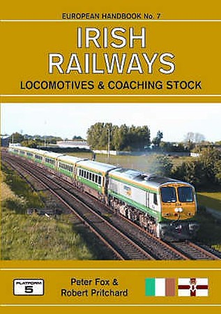 2008 Irish Railways Locomotives & Coaching Stock, 2nd edition, by Peter Fox & Robert Pritchard, published March 2008, 80pp £12.95, ISBN 1-902336-58-9. Cover photo of IR 234. The ochre coloured cover appears to be a stock photo of the original cover, but the green cover was the one published (see following photo).