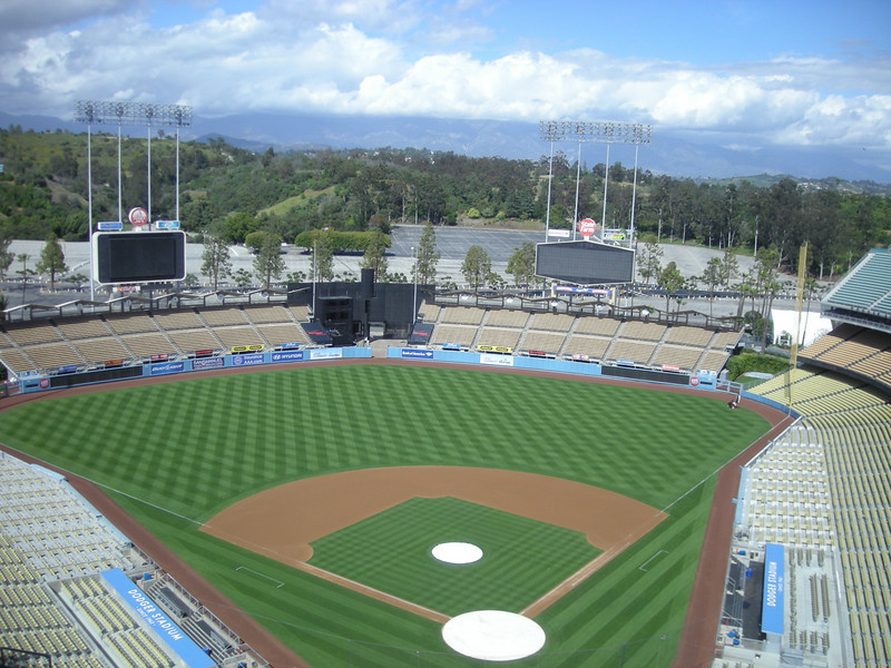 Mountains behind Dodger Stadium