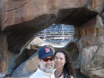 Bud and Stacie, facing home plate from center field, Angel's Stadium, Anaheim.