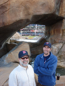 Bud and Nick, facing home plate from center field, Angel's Stadium, Anaheim.