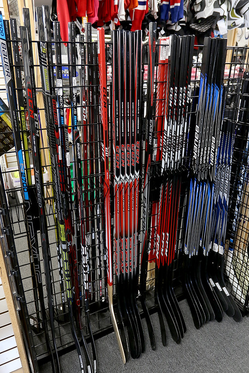 . Play It Again Sports in Leominster has a new Owner/Manager Sandy Pellecchia. Some of the hockey sticks they sell. SENTINEL & ENTERPRISE/JOHN LOVE