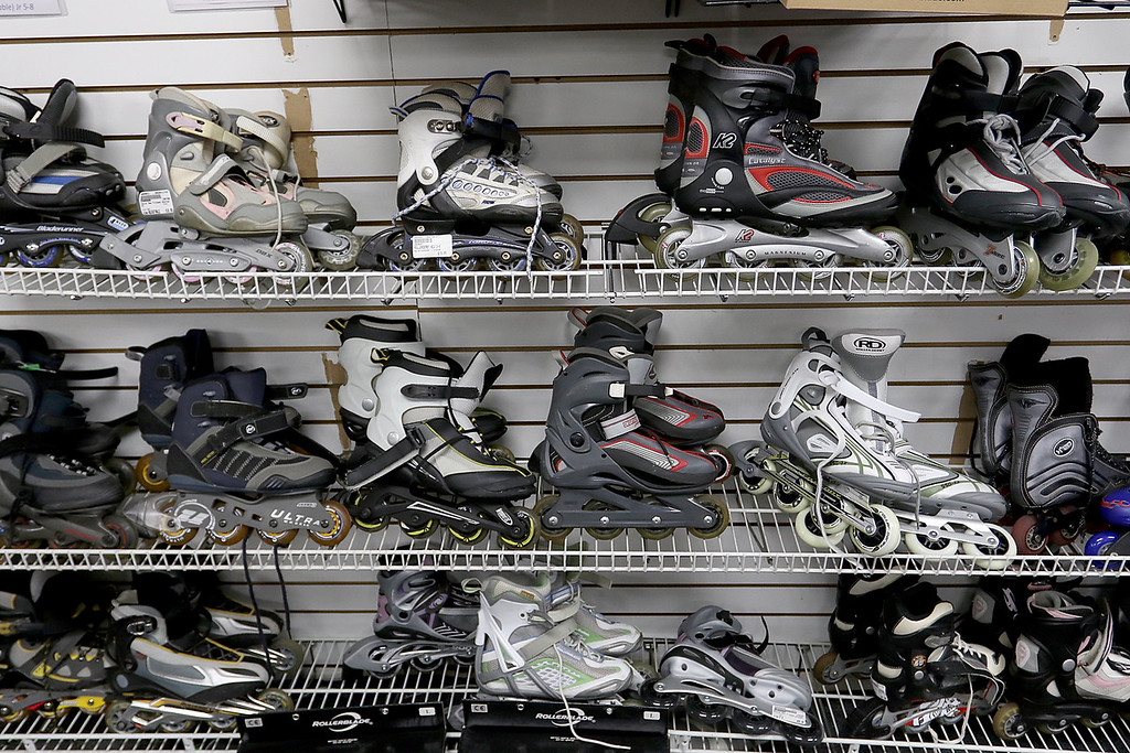 . Play It Again Sports in Leominster has a new Owner/Manager Sandy Pellecchia. Some of the inline skates they sell. SENTINEL & ENTERPRISE/JOHN LOVE