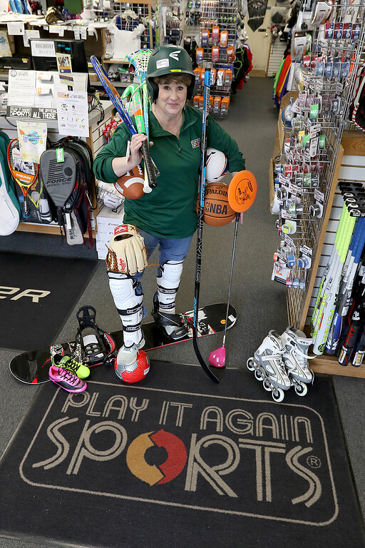 . Play It Again Sports in Leominster has a new Owner/Manager Sandy Pellecchia. Pellecchia in her new store on Friday, April 19, 2019. SENTINEL & ENTERPRISE/JOHN LOVE