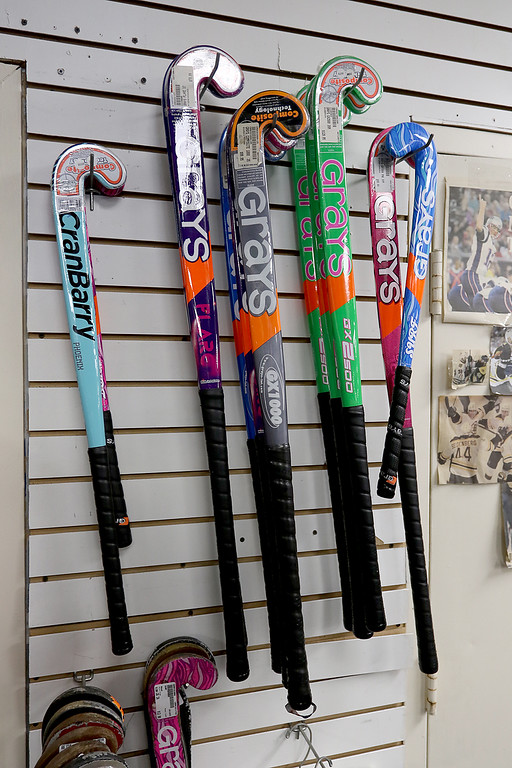 . Play It Again Sports in Leominster has a new Owner/Manager Sandy Pellecchia. Some of the field Hockey sticks they sell. SENTINEL & ENTERPRISE/JOHN LOVE