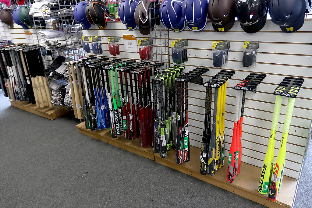 . Play It Again Sports in Leominster has a new Owner/Manager Sandy Pellecchia. Some of the bats they sell. SENTINEL & ENTERPRISE/JOHN LOVE