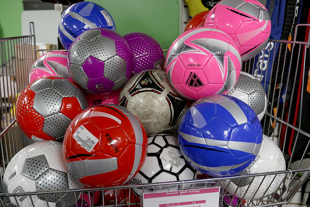 . Play It Again Sports in Leominster has a new Owner/Manager Sandy Pellecchia. They sell soccer balls too. SENTINEL & ENTERPRISE/JOHN LOVE