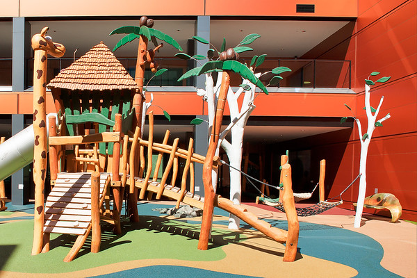 timber fort with palm trees and giraffe