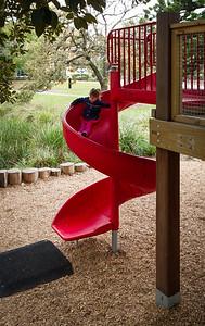 red spiral slide