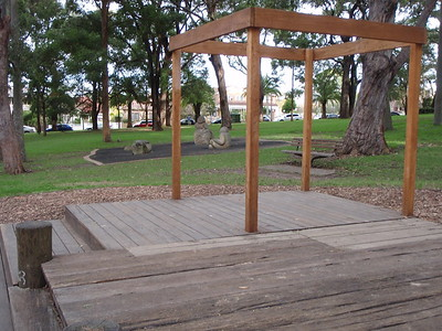 open plan timber cubby on deck