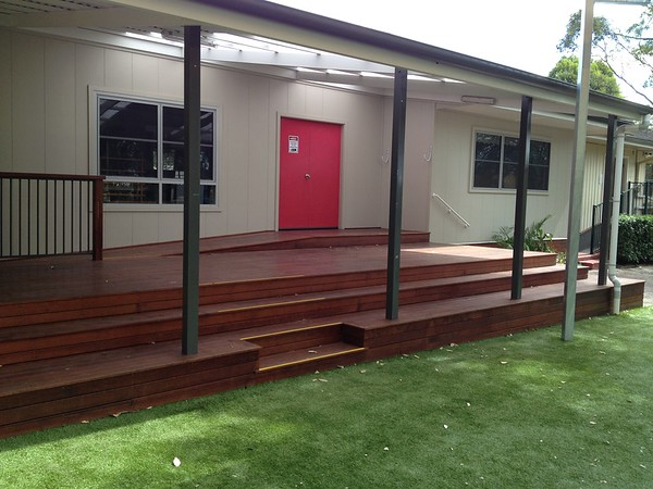 timber deck with timber ramp and sitting steps