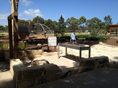 ruin with water play trough and sandpit