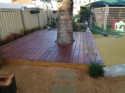 timber deck around tree