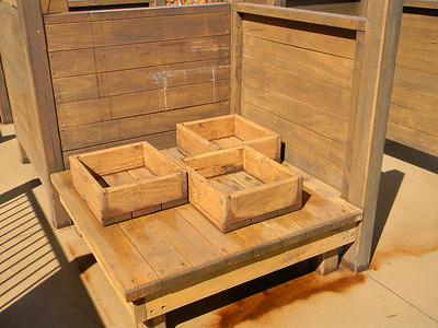 timber gathering boxes and table
