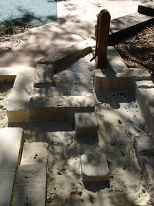 sandstone block water play feature