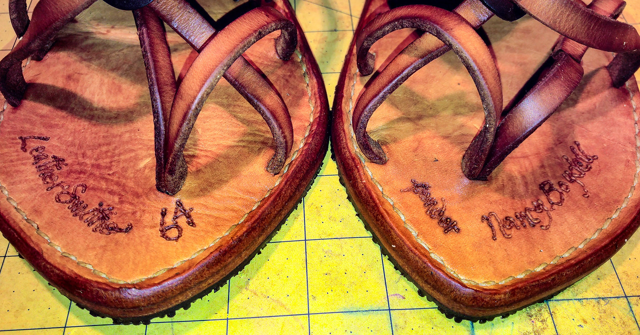 Intersole is same thickness vegetable-tanned cowhide as insole in order  to lighten sandal.