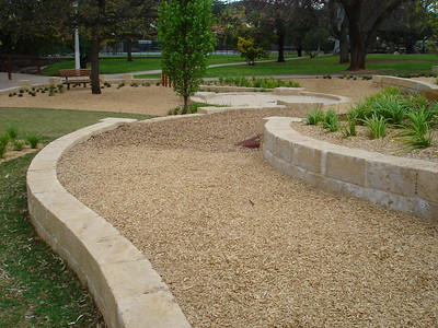 sandstone block retaining and sandpit