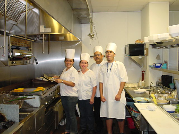 The base crew, Thomas Ramirez, his wife and son, and I don't remember the lady at the cook top for some reason...