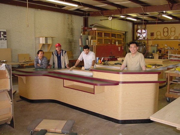 The service counter I designed to specifically fit our space and use requirements, and fabricated in Garland, Texas by some Vietnamese guys. The total length was limited by the size of my cargo trailer....PERFECT !