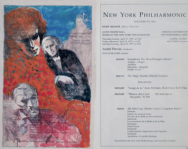 Playbills from the metropolitan Opera, New York Philharmonic and roundabout theater he he sketched are housed in the archival libraries of the Metropolitan Opera, New York Philharmonic and Roundabout Theater.