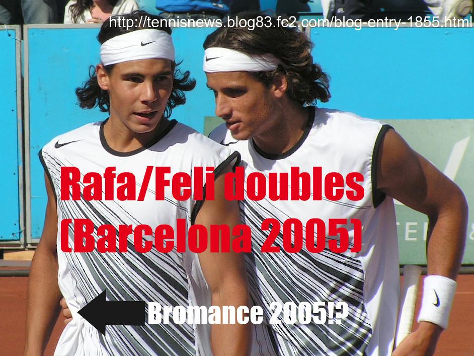 """<a href=""""http://tennisnews.blog83.fc2.com/blog-entry-1855.html"""">ラファとフェリのダブルス写真(バルセロナ2005)- (Rafa Nadal/Feli Lopez (doubles), Barcelona 2005)</a>"""