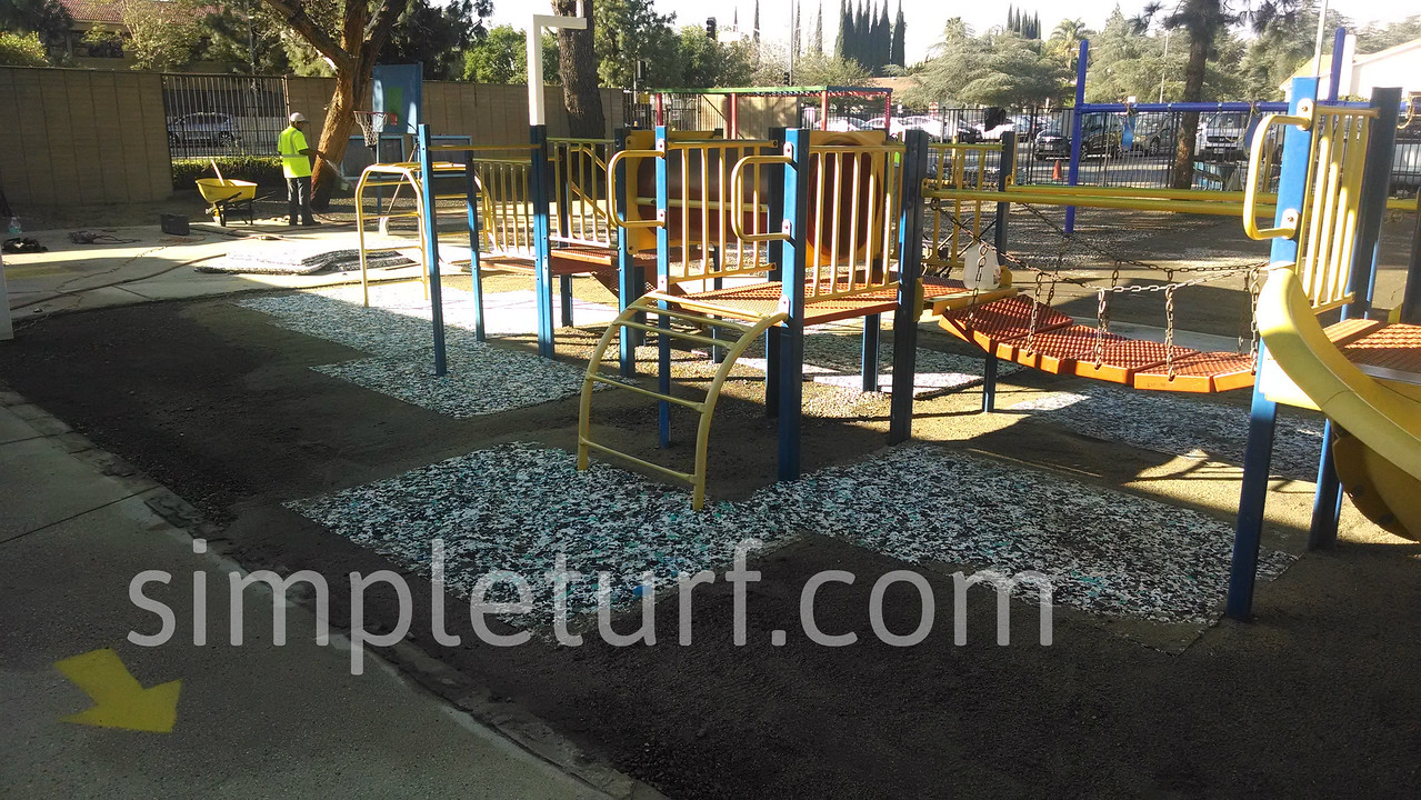 Playground during installation of artificial turf