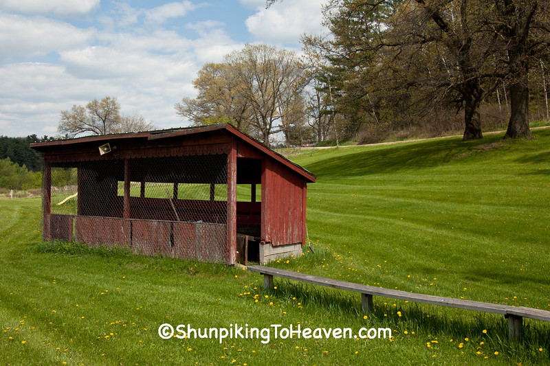 Old Baseball Dugout and Bench, Iowa County, Wisconsin