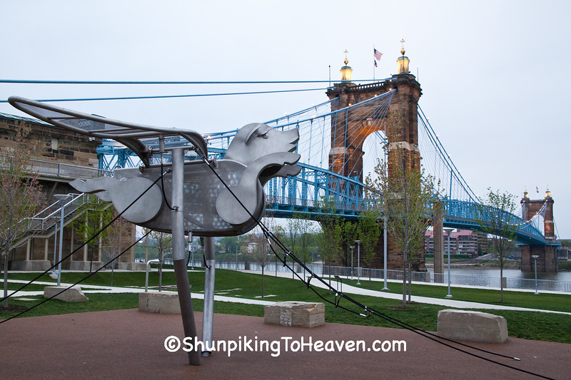 Flying Pig Play Equipment at Roebling Suspension Bridge, Cincinnati, Ohio