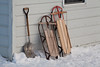 Sleds and Scoop Shovel at Amish School, Vernon County, Wisconsin