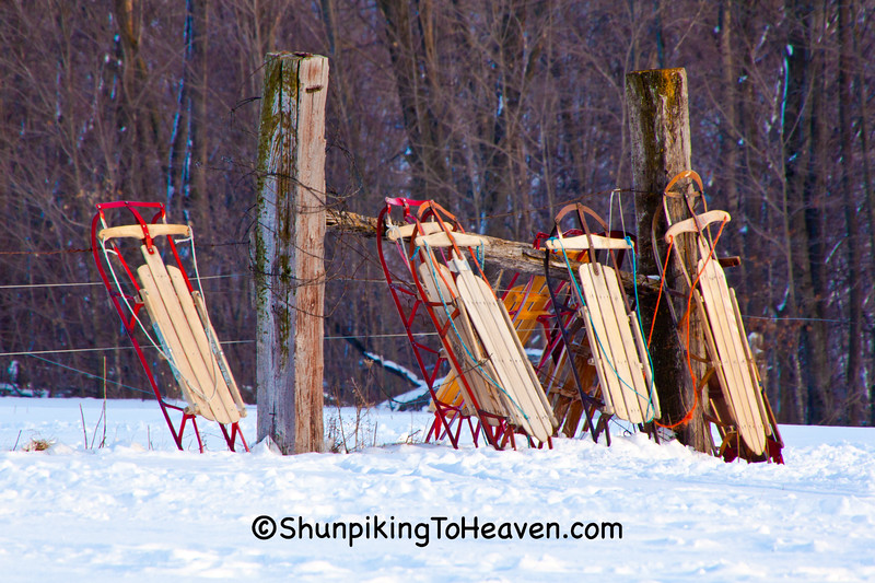 Old Fashioned Sleds at Amish School, Vernon County, Wisconsin