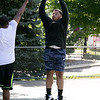 """Friends got together on Saturday to shoot some hoops at the Joanne """"Mama"""" fitz Memorial Playground's basketball court. Putting up a shot is Mike Jhons from Fitchburg. SENTINEL & ENTERPRISE/JOHN LOVE"""