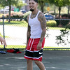 """Friends got together on Saturday to shoot some hoops at the Joanne """"Mama"""" Fitz Memorial Playground's basketball court in Fitchburg. Having some fun playing around is Josh Colton from Westminster. SENTINEL & ENTERPRISE/JOHN LOVE"""