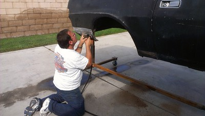 100612 Working on right rear quarter panel.