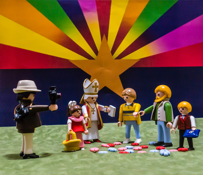 Arizona Playmobil Gay Marriage. U.S. District Court overruled Arizona's, Alaska's and Wyoming's bans on gay marriage.