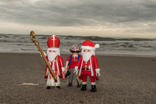 Santa and St. Nicolas at the beach. India Atlantic, Melbourne, Florida