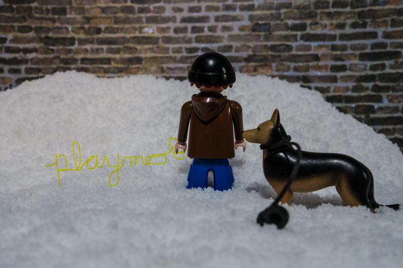 """Boys will be boys"" Playmobil peeing on snow bank."