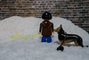 """Boys will be boys"" Playmobil peeing on snow bank."