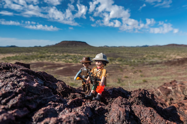 Playmobil Geologists, Pinacate Lava Flow, Cabeza Prieta National Wildlife Refuge, Yuma County Arizona USA