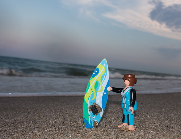 Playmobil surfer. Melborne Beach, India Atlantic, Florida USA