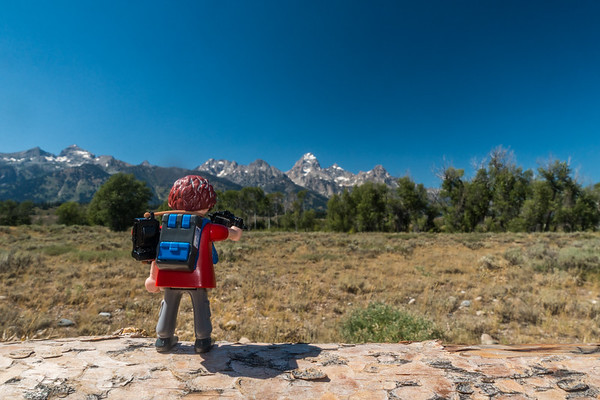 Playmobil photographer. Grand Tetons National Park, Jackson Hole, Wyoming