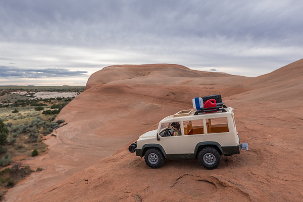 Playmobil slickrock offroading. Wind Whistle Rock, Utah USA