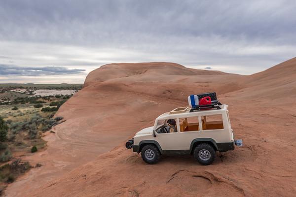 Playmobil slickrock offroading. Wind Whistle Rock, Utah USA