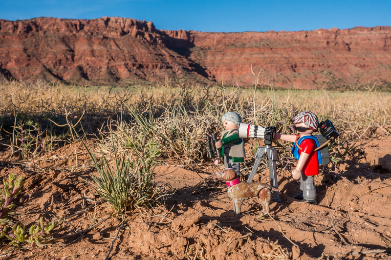 Playmobil Mini-us adventurers.  Vermillion Cliffs National Monument, Coconino Co., Arizona USA